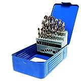 S&R Forets HSS à métaux 1-13 mm, angle 118 °, set de 25 pièces, DIN 338, acier HSS, coffret métal. Qualité Professionnelle