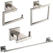 UMI Essentials - Set di accessori da bagno in acciaio INOX, composto da 4 pezzi, comprendente una barra porta asciugamani, un anello portarotolo e un gancio doppio