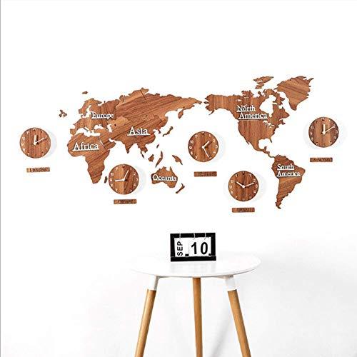 YLCJ Wanduhr XDLUK Holz Große Zahlen Weltkarte Kreative DIY Aufkleber Weltzeituhr Hängen Uhren Dekoration für Wohnzimmer Schlafzimmer Braun