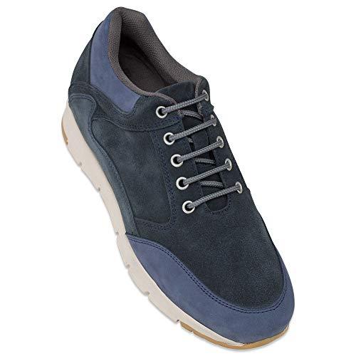 Masaltos Zapatos de Hombre con Alzas Que Aumentan Altura Hasta 7 cm. Fabricados EN Piel. Modelo Berna Azul 42