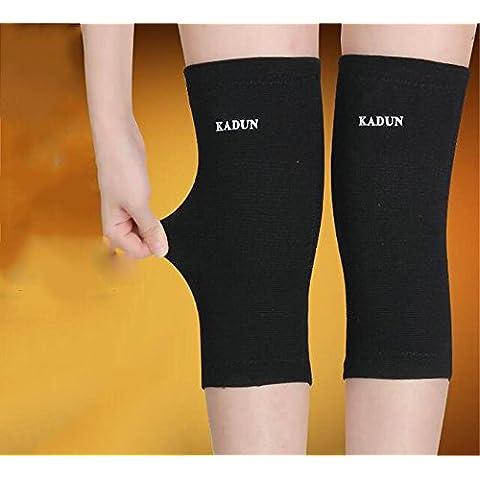Kneepad caldo Imposta Cold Winter bambù Leggings ginocchio artrite Vecchio freddo Gambe Anziani uomini e donne di sport ( colore : Nero , dimensioni : Xl )