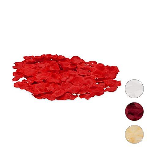 Relaxdays Rosenblätter rot 500er Pack, künstlich, romantische Rosenblüten, Streudeko, Hochzeit, Hochzeitsdeko, dunkelrot
