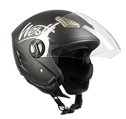 Westt® Jet · Casco Moto Jet Abierto para Motocicleta Ciclomotor y Scooter · Cascos de Moto Mujer y Hombre en Negro Mate · ECE Homologado