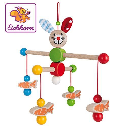 Eichhorn 100017022 - Baby Mobile mit Hasenmotiv, 22x22cm, FSC 100% Zertifiziertes Buchenholz, Made in Germany