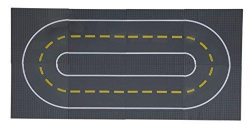 Strictly Briks - Bauplatten Straße - Geraden und Kurven - Bauplatten für Straßen, Städte, Garagen & mehr - 100% kompatibel mit Allen führenden Marken -25,4x25,4 cm-8 Stück (4 gerade und 4 mit Kurven) - Lego Großen Grundplatten