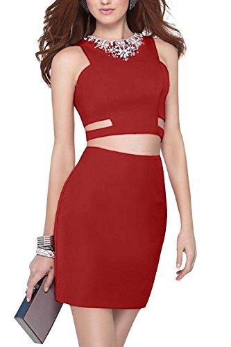 Charmant Damen 2016 Neu Sexy Zwei-teilig Steine Ausschnitt Abendkleider Partykleider Cocktailkleider Mini Schmaler Dunkel Rot