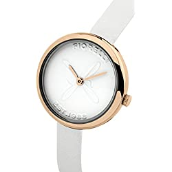 Fiorelli Women's Quartz Watch with White Dial Analogue Display and White Leather Strap FO007WRG