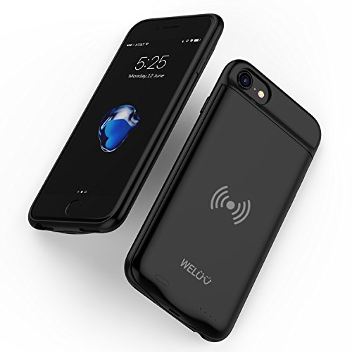 Handy-akku Mah 3000 (Batterie Case WELUV F.iPhone 8 7 6 6s Akku Hülle QI Kabelloses Laden 3000mAh Externer Powerbank ladehuelle Handy Schutzhülle Drahtlos Induktion Ladegerät Protective Cover Schwarz Geschenk)