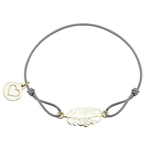 PURELEI Armband Baumwolle Charm Frauen (Leaf Grey Gold) Schmuck Damen Freundschaftsarmband Jewellery Geschenke Armbänder Bracelets Women
