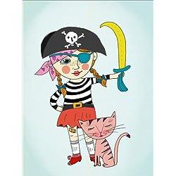 """Cuadro infantil estilo vintage """"Julie, the brave pirate girl""""."""