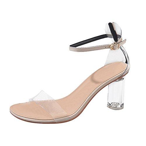 YWLINK Mode Einfach Open Toe High Heels Sandalen Damen Elegant Transparente Sandalen Klassisch MäDchen Party Trichterabsatz Schuhe(Beige,EU 38)