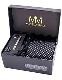 MASSI Morino Hombre Designer corbata – caja conjunto con pañuelo, gemelos y aguja de corbata, ropa y accesorios de hombre (Negro punteado)