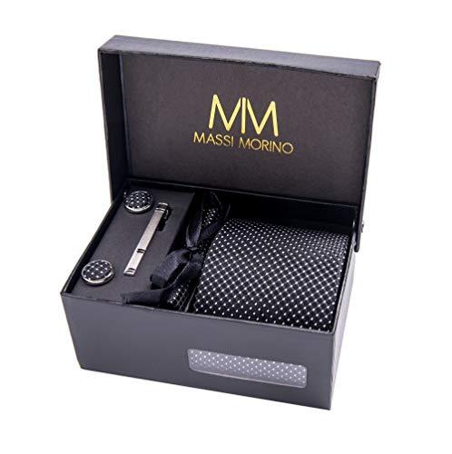 Massi Morino ® Herren Krawatte Set mit umfangreicher Geschenkbox Herren Krawatte Set schwarz schwarze black Trauer Beerdigung trauerkleidung blacktie punktemuster gepunktet punkte -