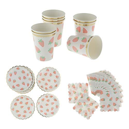 (perfeclan 32x Papier Becher + Teller + Tissueservietten Set Einweggeschirr Set Party Supplies)