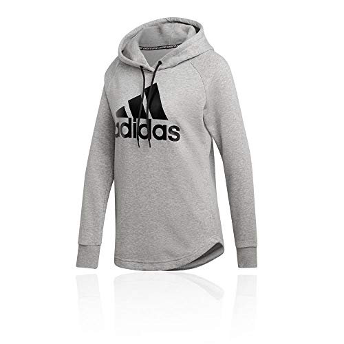 adidas Damen W MH BOS OH HD Sweatshirt, medium Grey Heather/Black, S