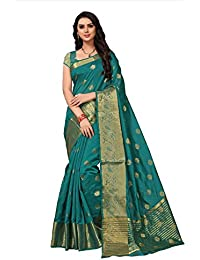 Fabwomen Sarees Zari Work Green And Green Coloured Kanjeevaram Silk Fashion Party Wear Women's Saree/Sari With...
