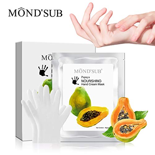 MOND'SUB Moisturizing Hand Maske Papaya Home Spa Handschuhe Flecken entfernen Dead Hand Haut Baby Hand Anti-Drying Softing Whitening Peeling Hand Hautpflege Winter Handpflege für trockene Hand-5p