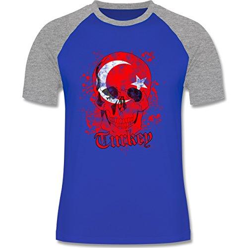 EM 2016 - Frankreich - Turkey Schädel Vintage - zweifarbiges Baseballshirt für Männer Royalblau/Grau meliert