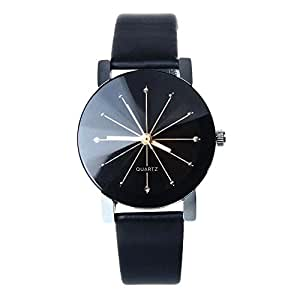 DDLBiz® 1PC donne cassa rotonda al quarzo quadrante dell'orologio da polso in pelle (nero)