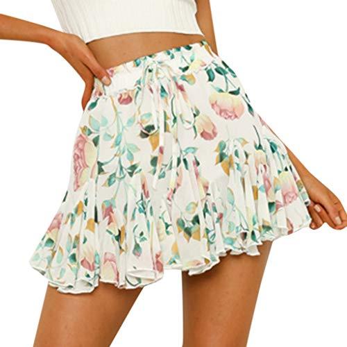 HULKYDamen Kurzes Kleid Sommer Hohe Taille Eine Linie Mini Rock Plissee Rüsche Niedlichen Strandrock(Weiß,XL) - Röcke Plissee Ärmelloses Kleid