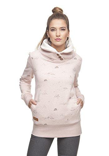 Ragwear Angel Damen Frauen Sweater, Kapuzenpulli, Hoodie, Bequem, Stylisch, Allover-Print,Regular Fit,Baumwolle,Old Pink(4053), S