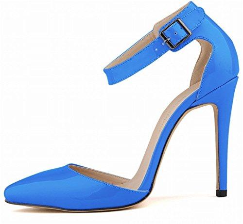 Wealsex Escarpins Sandale Bride Cheville Boucle Vernis PU Cuir Bout Pointu Talon Aiguille Chaussure de Soirée Mariage Sexy Mode Talon 11 Cm Femme Bleu
