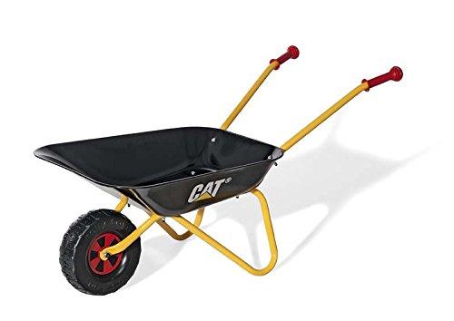 Rolly Toys 271818 Metallschubkarre CAT, Farbe schwarz/gelb, stabile Schubkarre mit Schüssel aus Metall und Kunststoffgriffen, ab 2,5 Jahren