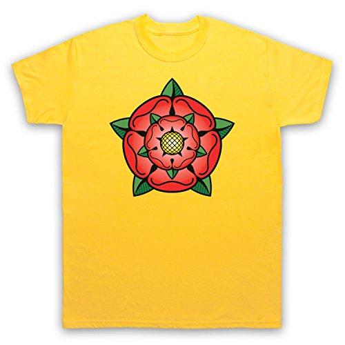 Tudor Rose British Regal Heraldic Symbol Herren T-Shirt Gelb