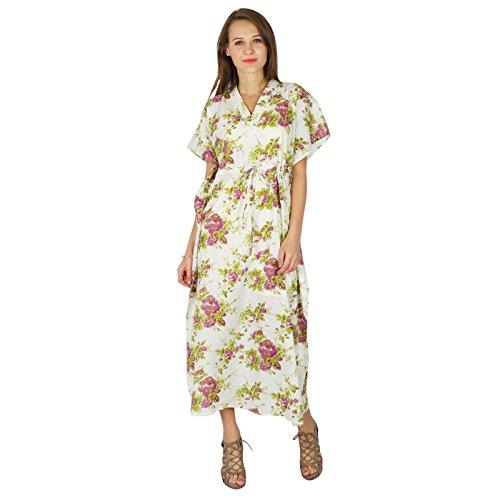 Femmes Phagun Caftan Robe Imprimée Maxi Vêtement De Nuitcoton Bohemian De Blanc Et Rose