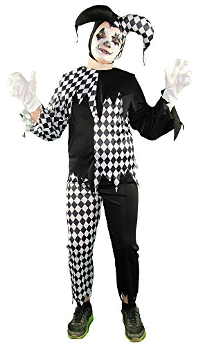In Jester Kostüm (Foxxeo 40242 I Horror Clown Harlekin Hofnarr schwarz weiß Jungen Kinderkostüm Halloween Joker,)
