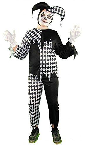 Foxxeo 40242 I Horror Clown Harlekin Hofnarr schwarz weiß Jungen Kinderkostüm Halloween Joker, (Batman Harlekin Kostüm)