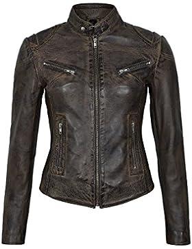 SPEED Ladies Dirty Brown Vintage Retro Biker Style Chaqueta de cuero de piel de cordero real