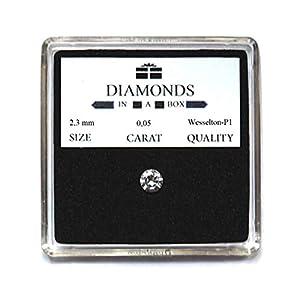 echter Diamant, loser Brillant, Zertifikat. 0,05 Karat, 2,1 mm, Wesselton -P1, Geschenk für Geburtstag Taufe Kommunion Frauen Männer Mama Freundin Incentive Werbegeschenk