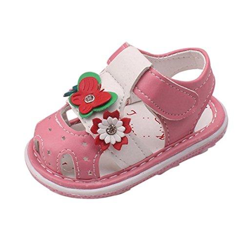 Schuhe Baby Mädchen, FNKDOR Neugeborene Weiche Rutschfest Lauflernschuhe Sandalen, 1-3 Jahre (6-12 Monate, Rosa)