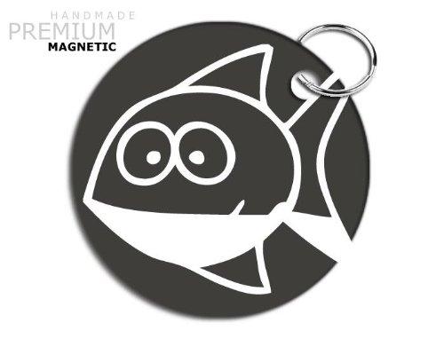 JCM Awesome Funny Cartoon Fisch Schlüsselanhänger, magnetisch, Grau