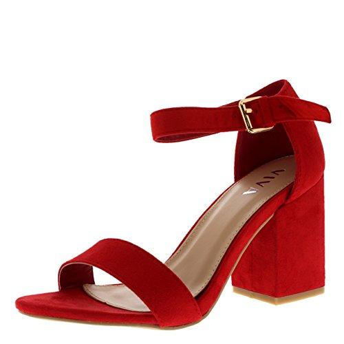 Mujer Ancho Medio Bloquear el Talón Ante Correa de Tobillo Casual Zapato Sandalias - Rojo KL0299P 6UK/39...