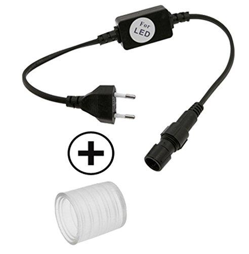 SET 1x Stromadapter + 1x Endkappe für LED Schlauch 13mm Durchmesser