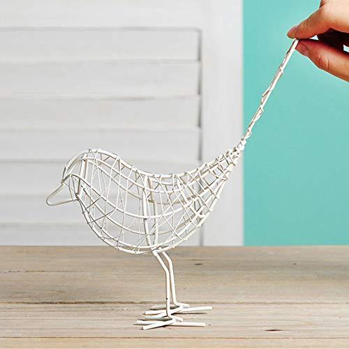 OYJJ Schmiedeeiserne Vogel-Ornamente Schmiedeeiserner Vogel-Schmuck Modell Draht Vogel Geschenk Dekoration Garten Rasen Outdoor Dekoration weiß - Weiß Schmiedeeisen Kronleuchter