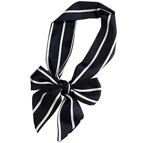 Reinigen, Satin-handtasche (Bontand Damen-lange Krawatte Griff Tasche dünner Schal Kleine Band Dekorative Schal Tasche Kopf Schmalen langen Schals für Frauen (schwarz))