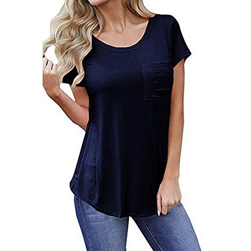 PorLous Bluse, 2019 Mode Frauen Weiblich Beiläufige Lose Reine Lochtasche Kurzarm Crop Top Bluse Bequem Elegant.