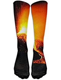 Novelty Gym Crew Long Stockings Sock Volcanic Eruptions Calf Unisex Comfortable Casual Running Knee High Socks