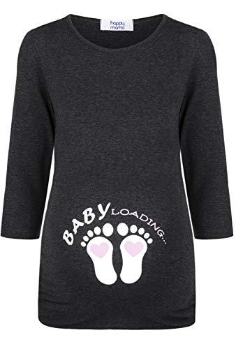 HAPPY MAMA Damen Mutterschaft Baby Füße Bauch T-Shirt Hemd- Top 195p (Puderrosa & Grau Melange, 38, M)