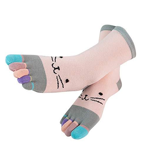TPulling Bunte Socken Damen Witzige Socken Weihnachten Deko Schneemann Rentier Frauen Bunte Patchwork Zehensocken fünf Finger Socken Baumwolle lustige Socken