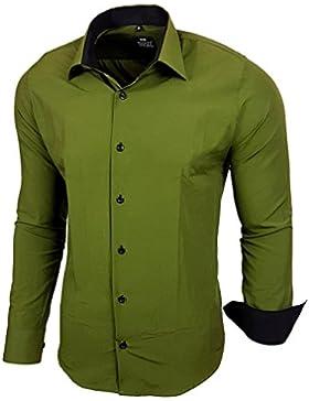 BAXBOY contrasto Slim Fit uomo camicie Business Tempo Libero Camicia a maniche lunghe per 44–RN 2