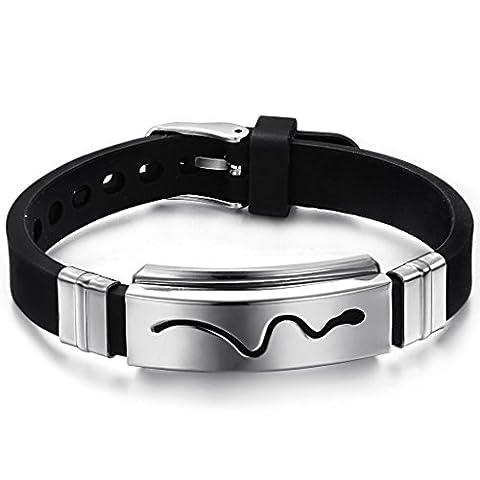 Bracelet 16 Cm - Jewow Bijoux acier inoxydable Silicone Bracelet pour