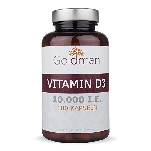Knochen-wachstum-vitamine (Goldman Vitamin D3 • 180 Kapseln hochdosiert mit 10.000IE • Vegan, laktosefrei, glutenfrei, zuckerfrei • Keine Magnesiumsalze • Sonnenvitamin • Made in Germany)
