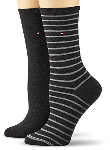 Tommy Hilfiger Damen Socken TH SMALL STRIPE 2P, 2er Pack, Gr. 35/38, Schwarz (black 200)