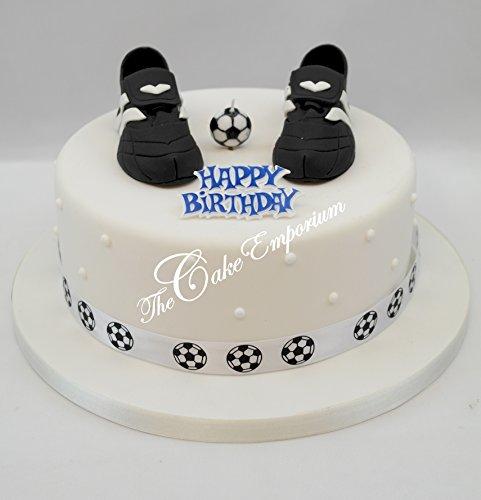 Fußballschuhe Football Kerze Ribbon & Happy Birthday Motto Kuchen Topper Set -
