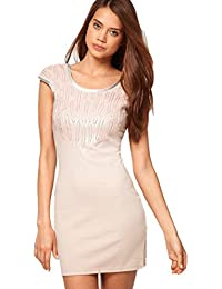 Lipsy Nude JD01486 Sequin Disc Shift Bodycon Party Club Evening Dress