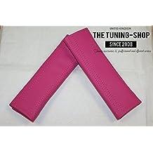 La tuning-shop Ltd 2x almohadillas de cinturón de seguridad para el hombro funda de piel con costuras color rosa 22cm x 6cm